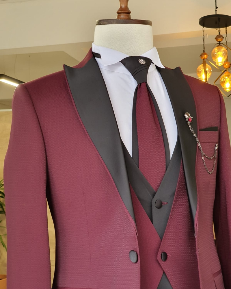 Claret Red Slim Fit Peak Lapel Wedding Suit by GentWith.com with Free Worldwide Shipping