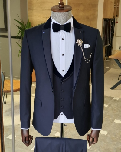 Navy Blue Slim Fit Notch Lapel Tuxedo by GentWith.com with Free Worldwide Shipping