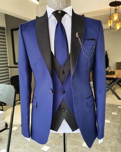 Sax Slim Fit Peak Lapel Wedding Suit by GentWith.com with Free Worldwide Shipping
