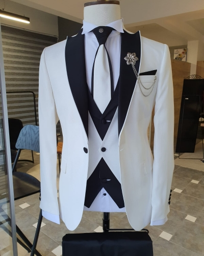 White Slim Fit Peak Lapel Tuxedo by GentWith.com with Free Worldwide Shipping