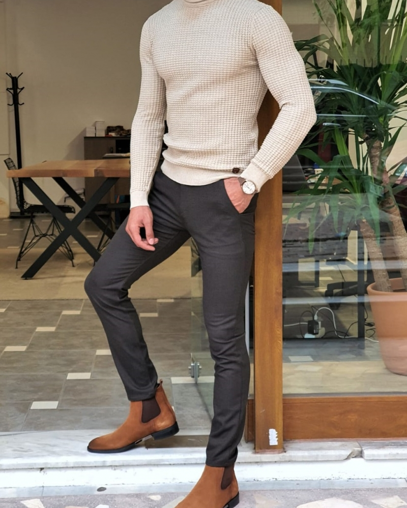 Beige Slim Fit Turtleneck Knitted Sweater by GentWith.com with Free Worldwide Shipping