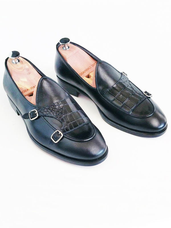 Black Genuine Leather Monk Strap Loafers by GentWith.com with Free Worldwide Shipping