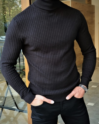 Black Slim Fit Turtleneck Knitted Sweater by GentWith.com with Free Worldwide Shipping