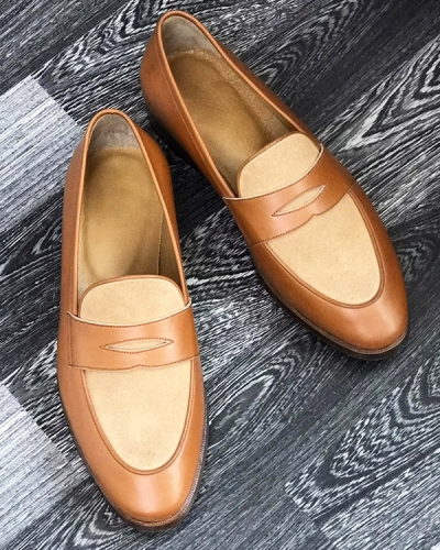 Handmade Brown Genuine Leather Penny Loafers by GentWith.com with Free Worldwide Shipping