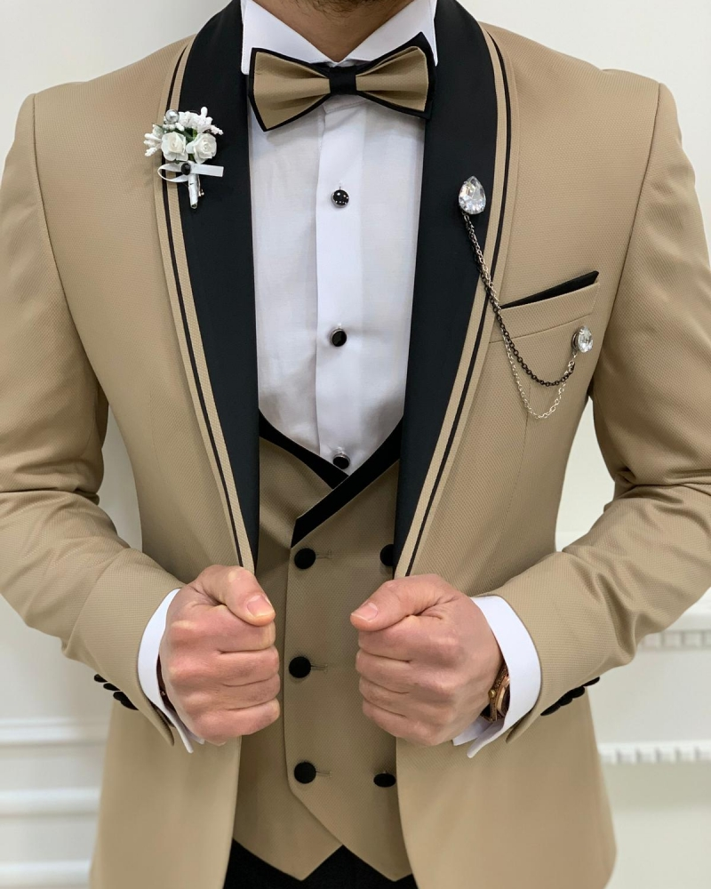 Gold Slim Fit Shawl Lapel Tuxedos by GentWith.com with Free Worldwide Shipping