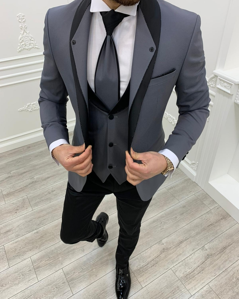 GentWith Whitney Gray Slim Fit Shawl Lapel Groom Suits by GentWith.com with Free Worldwide Shipping