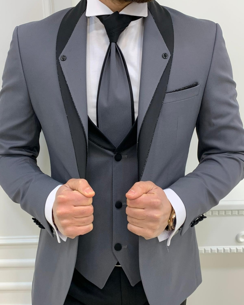 Gray Slim Fit Shawl Lapel Groom Suits by GentWith.com with Free Worldwide Shipping