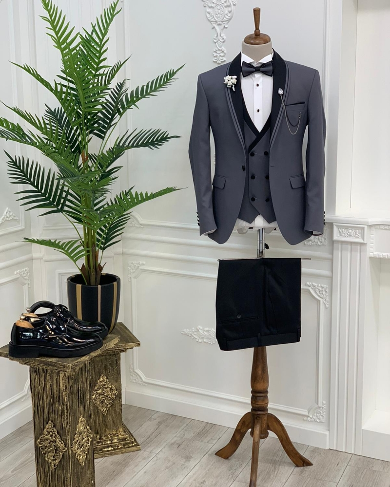 Gray Slim Fit Shawl Lapel Tuxedo by GentWith.com with Free Worldwide Shipping