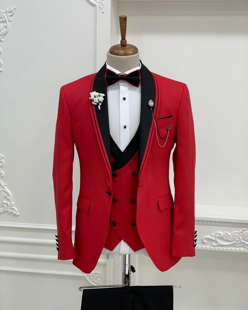 Red Slim Fit Shawl Lapel Tuxedo by GentWith.com with Free Worldwide Shipping
