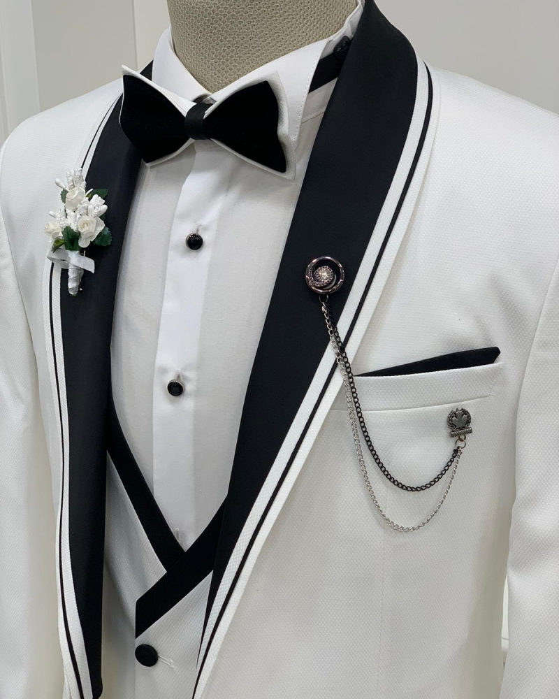 White Slim Fit Shawl Lapel Tuxedo by GentWith.com with Free Worldwide Shipping