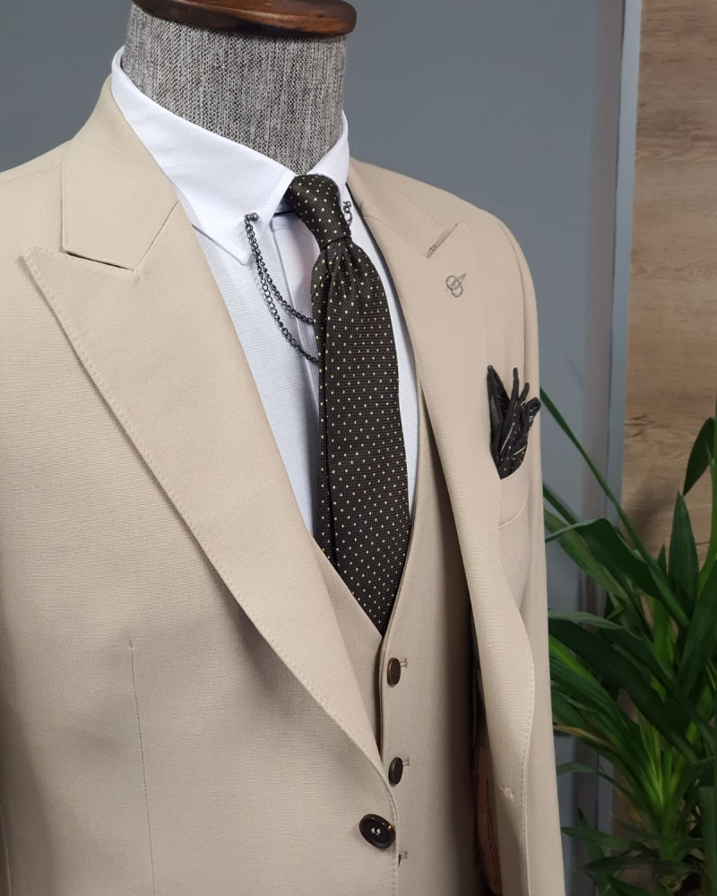 Beige Slim Fit Cotton Suit by GentWith.com with Free Worldwide Shipping