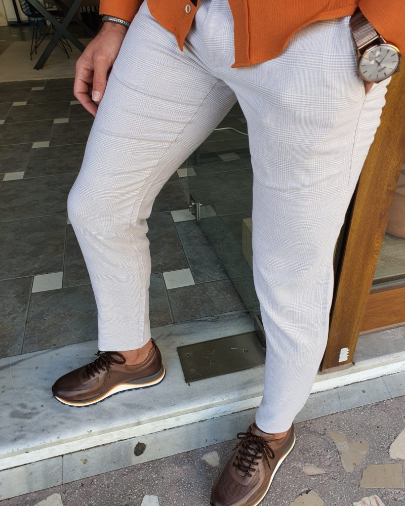 Beige Slim Fit Plaid Cotton Pants by GentWith.com with Free Worldwide Shipping