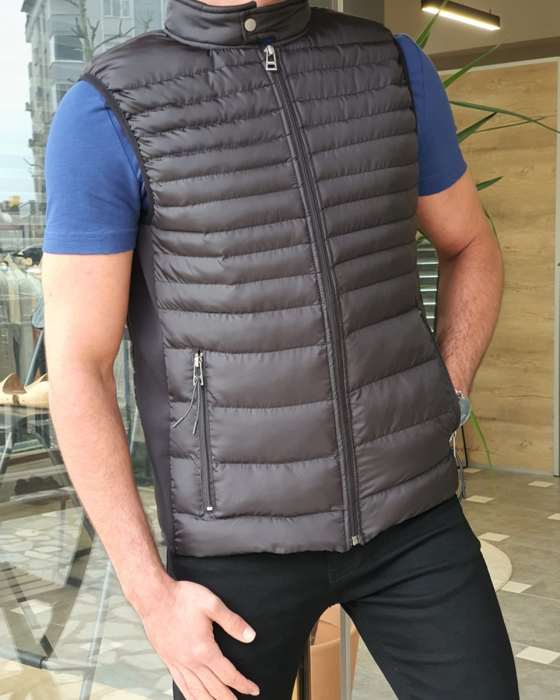 Black Slim Fit Puffer Jacket by GentWith.com with Free Worldwide Shipping