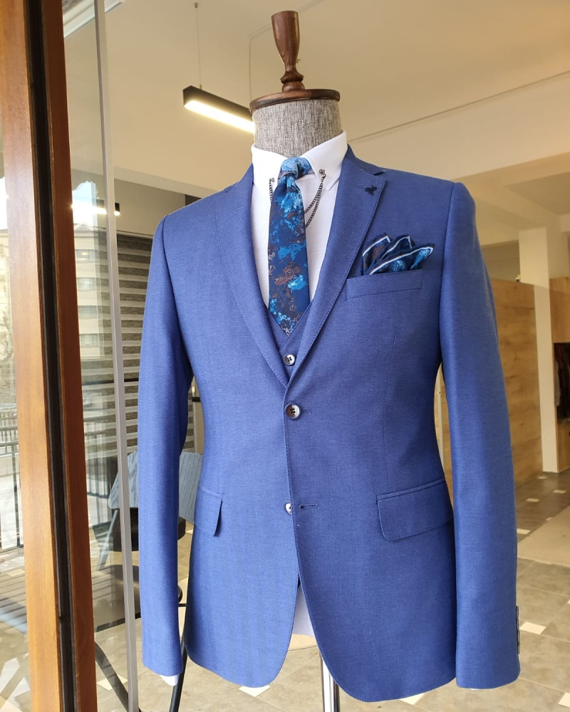 Blue Slim Fit Cotton Suit by GentWith.com with Free Worldwide Shipping