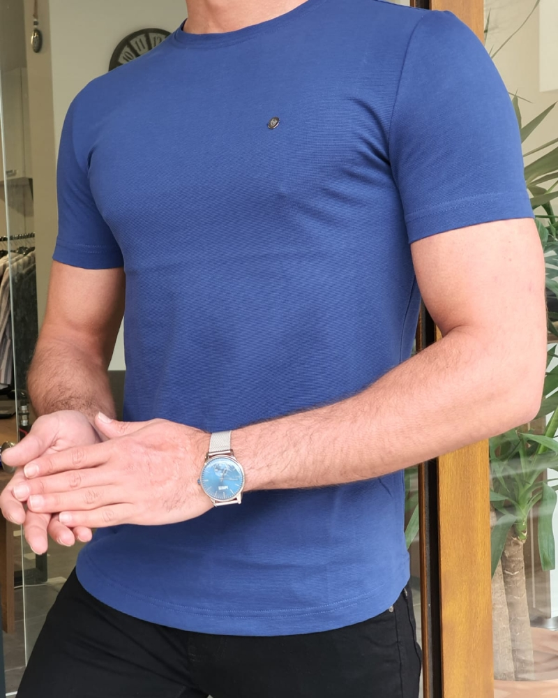 Blue Slim Fit Round Neck T-Shirt by GentWith.com with Free Worldwide Shipping