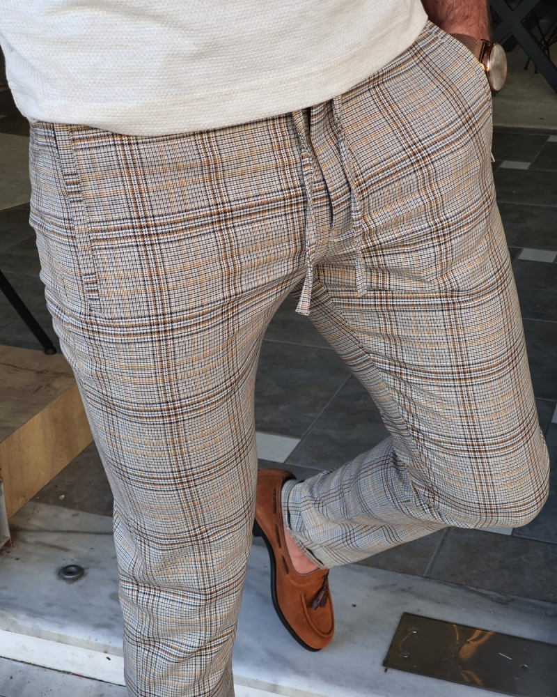 Brown Slim Fit Plaid Pants by GentWith.com with Free Worldwide Shipping