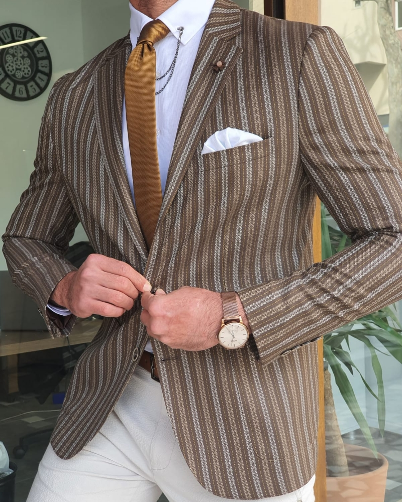 Brown Slim Fit Striped Blazer by GentWith.com with Free Worldwide Shipping