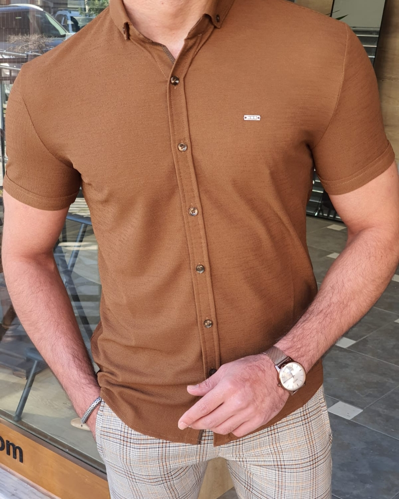 Camel Slim Fit Short Sleeve Shirt by GentWith.com with Free Worldwide Shipping