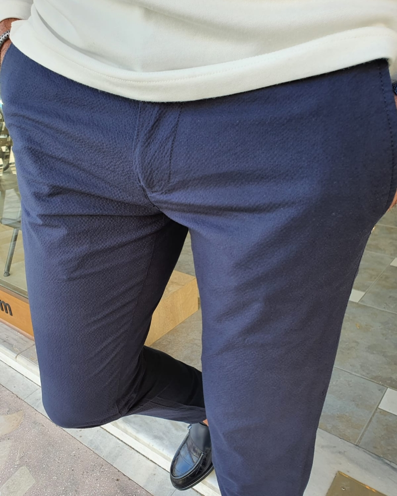 Navy Blue Slim Fit Cotton Pants by GentWith.com with Free Worldwide Shipping