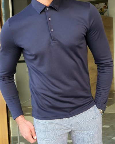 Navy Blue Slim Fit Long Sleeve Polo Shirt by GentWith.com with Free Worldwide Shipping