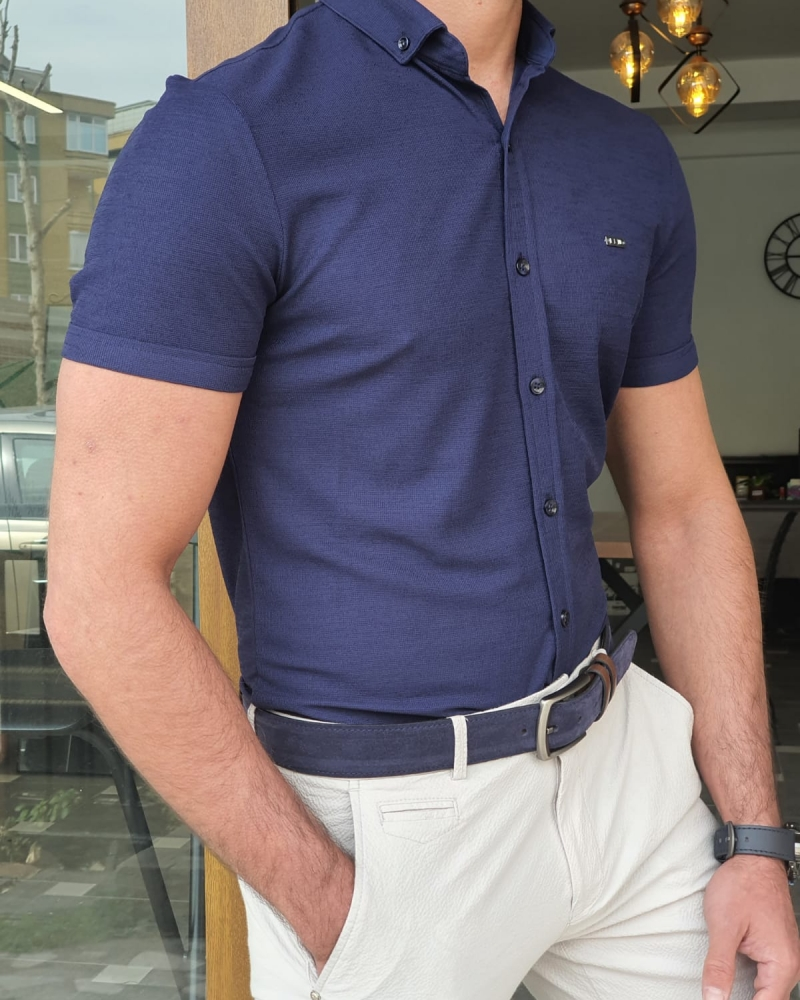 Navy Blue Slim Fit Short Sleeve Shirt by GentWith.com with Free Worldwide Shipping