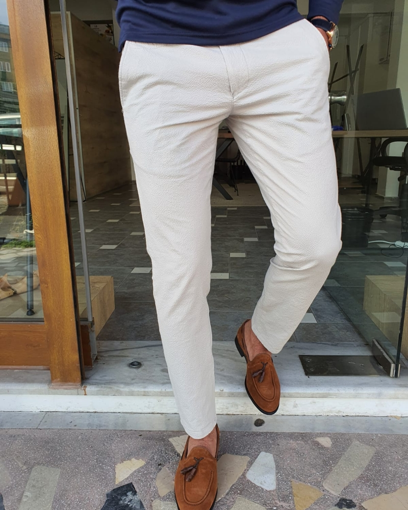 White Slim Fit Cotton Pants by GentWith.com with Free Worldwide Shipping