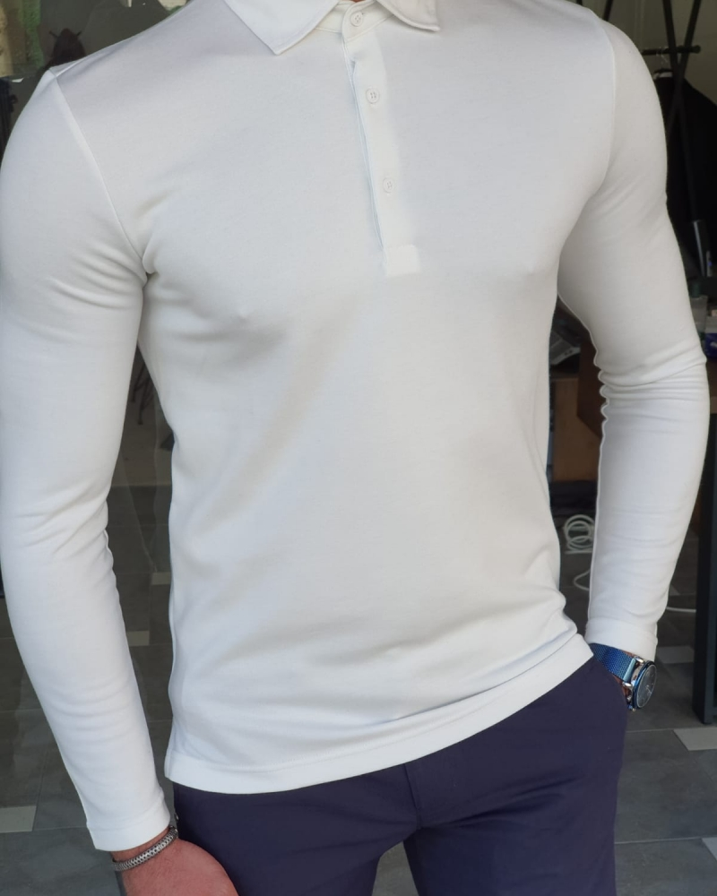White Slim Fit Long Sleeve Polo Shirt by GentWith.com with Free Worldwide Shipping