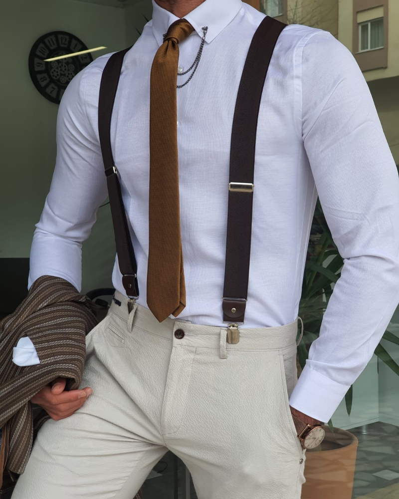 White Slim Fit Patterned Chain Collar Shirt by GentWith.com with Free Worldwide Shipping