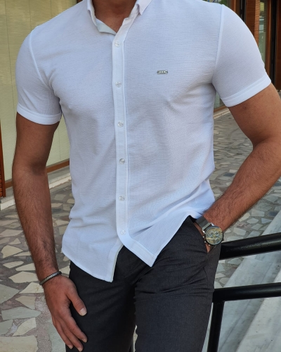 White Slim Fit Short Sleeve Shirt by GentWith.com with Free Worldwide Shipping