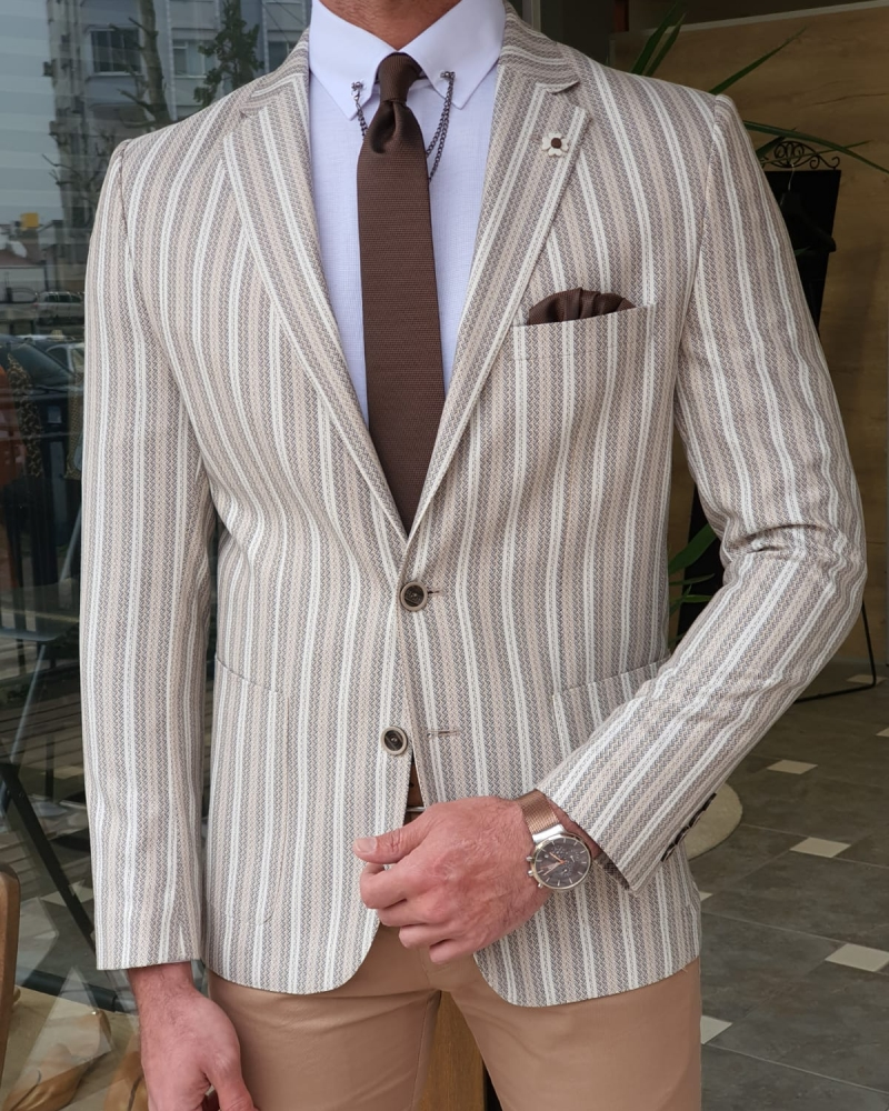 White Slim Fit Striped Blazer by GentWith.com with Free Worldwide Shipping