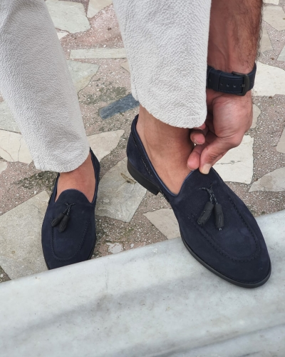 Navy Blue Suede Tassel Loafers by GentWith.com with Free Worldwide Shipping
