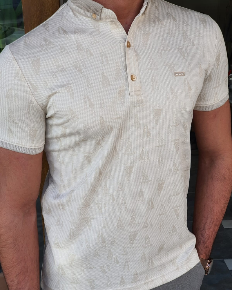 Beige Slim Fit Polo T-Shirt by GentWith.com with Free Worldwide Shipping