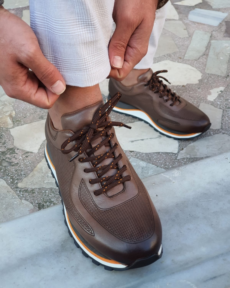 Brown High-Top Lace Up Sneakers by GentWith.com with Free Worldwide Shipping