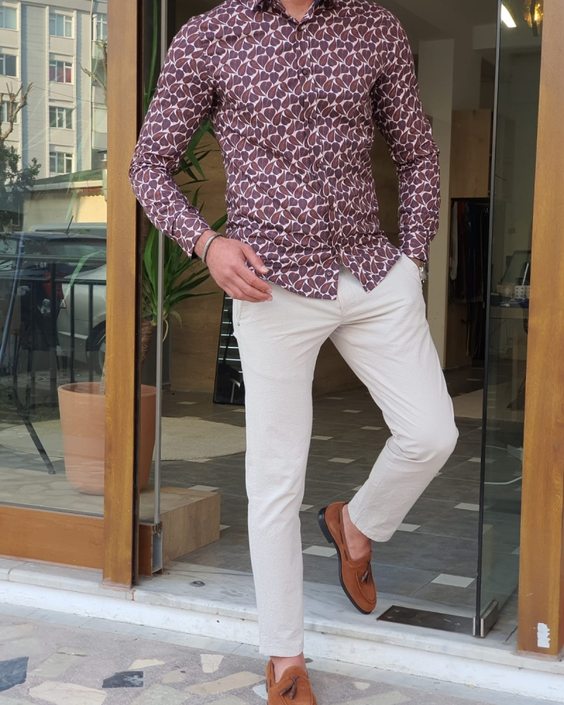 Brown Slim Fit Leaves Pattern Long Sleeve Cotton Shirt by GentWith.com with Free Worldwide Shipping