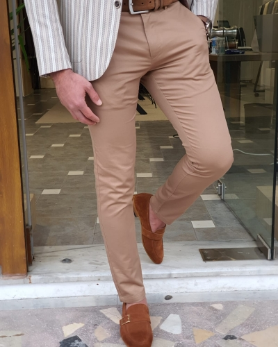 Camel Slim Fit Cotton Pants by GentWith.com with Free Worldwide Shipping