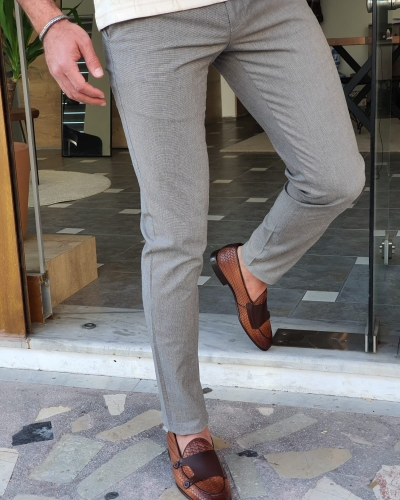 Brown Slim Fit Cotton Pants by GentWith.com with Free Worldwide Shipping