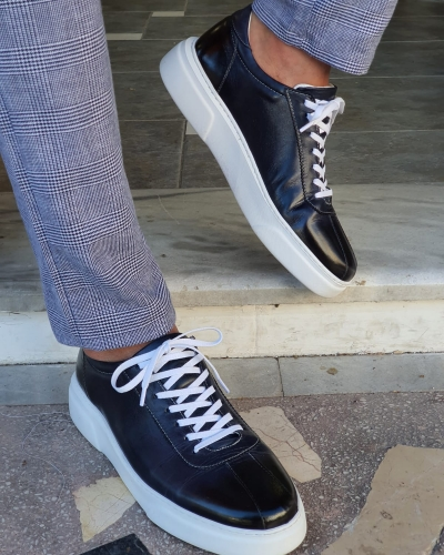 Navy Blue Mid-Top Sneakers by GentWith.com with Free Worldwide Shipping