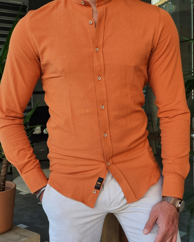 Orange Slim Fit Long Sleeve Cotton Shirt by GentWith.com with Free Worldwide Shipping