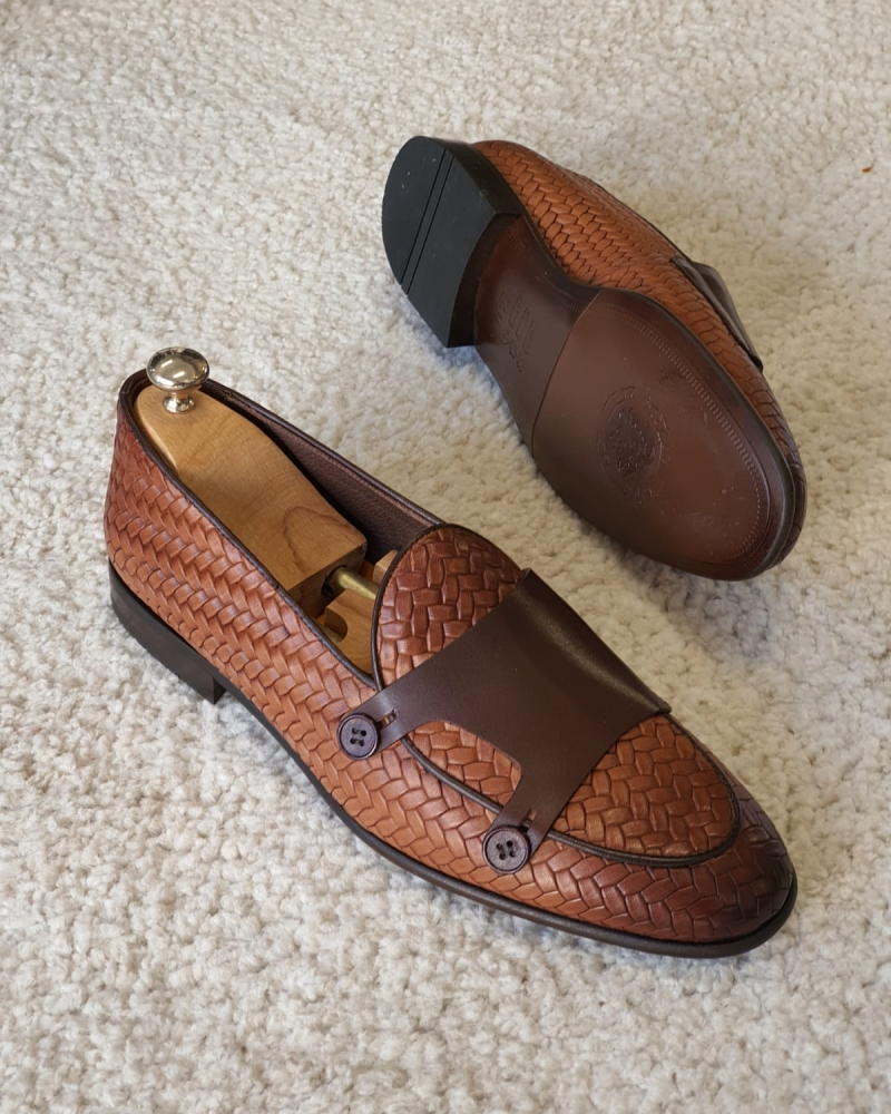 Tan Woven Leather Double Monk Strap Loafers by GentWith.com with Free Worldwide Shipping