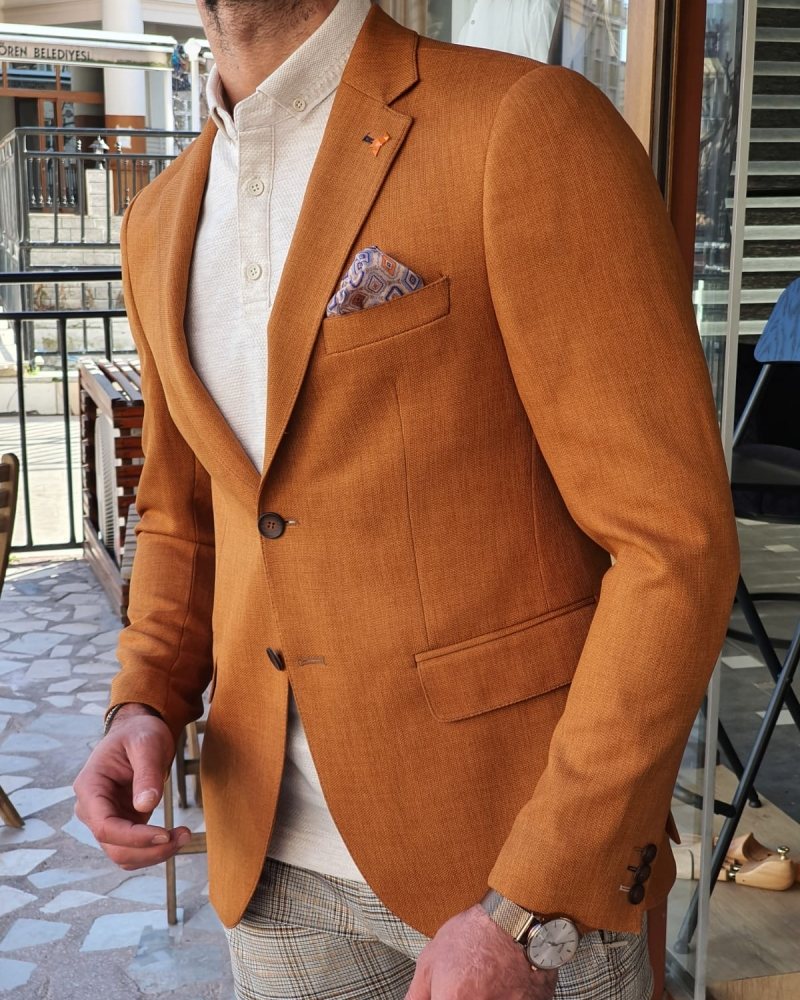 Brown Slim Fit Cotton Blazer by GentWith.com with Free Worldwide Shipping