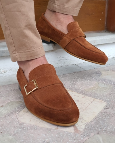 Brown Suede Buckle Loafers by GentWith.com with Free Worldwide Shipping