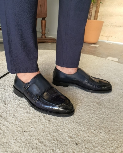 Navy Blue Monk Strap Loafers by GentWith.com with Free Worldwide Shipping