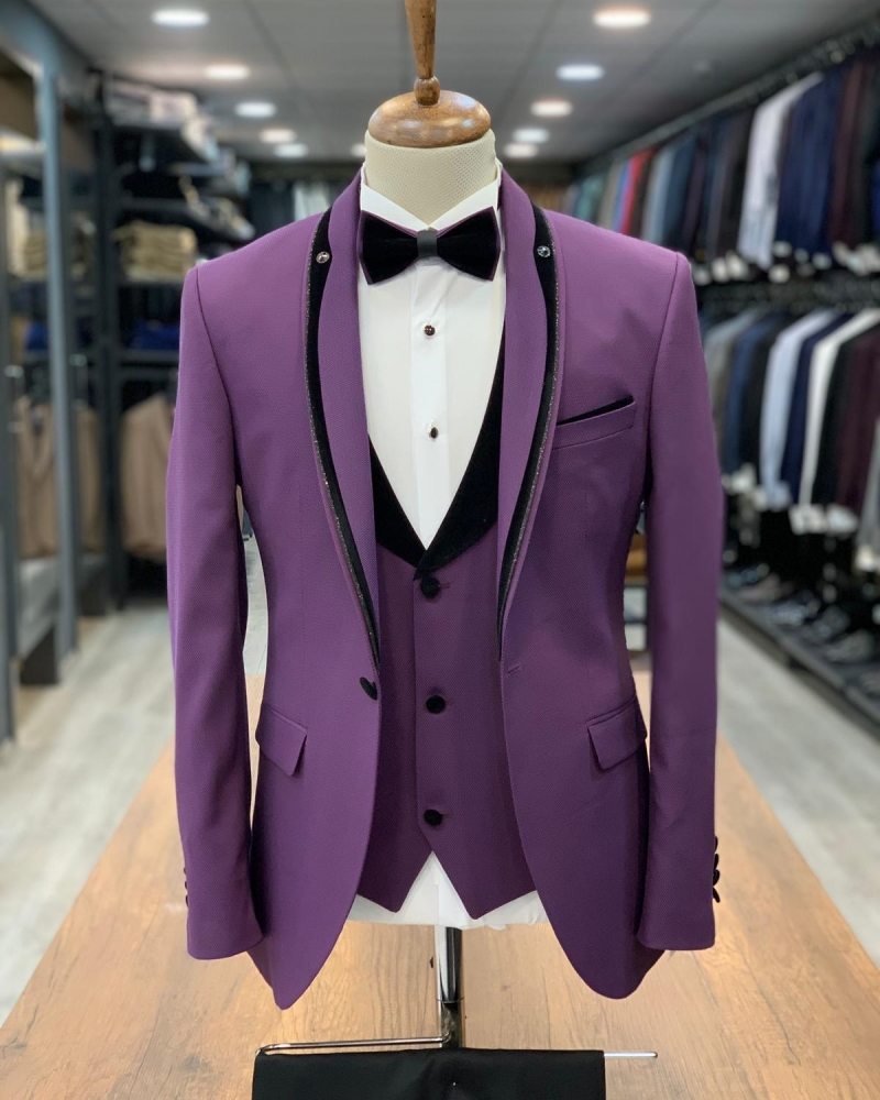 Purple Slim Fit Shawl Lapel Tuxedo by GentWith.com with Free Worldwide Shipping