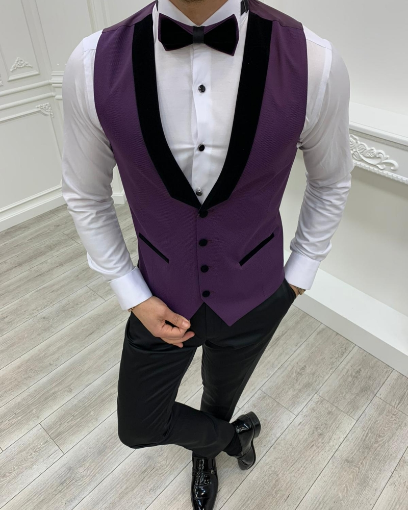 Purple Slim Fit Velvet Peak Lapel Tuxedo by GentWith.com with Free Worldwide Shipping