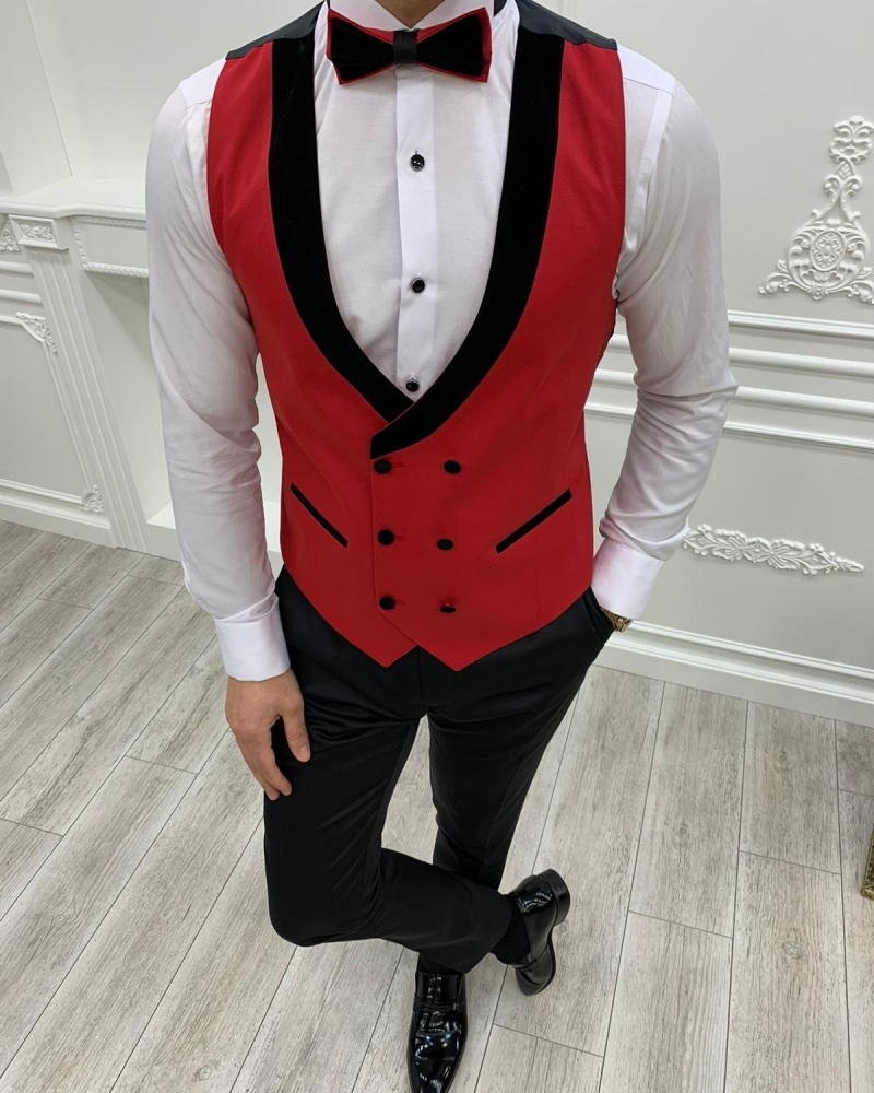 Red Slim Fit Velvet Peak Lapel Tuxedo by GentWith.com with Free Worldwide Shipping