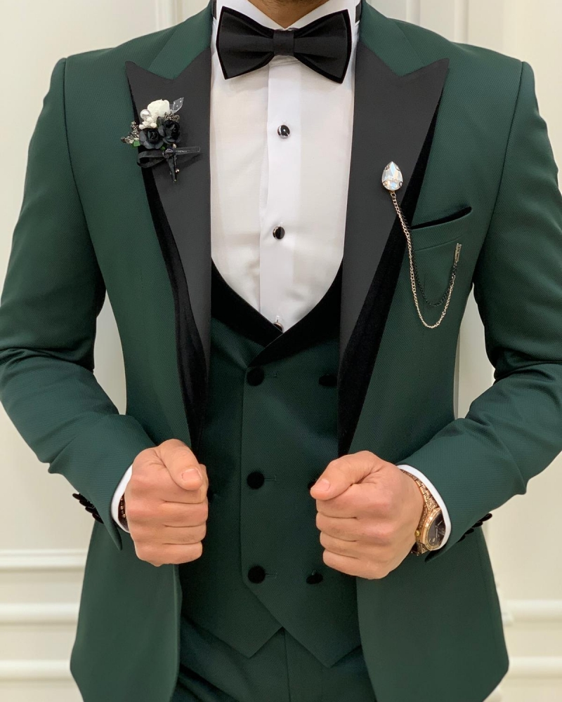 Green Slim Fit Velvet Peak Lapel Tuxedo by GentWith.com with Free Worldwide Shipping