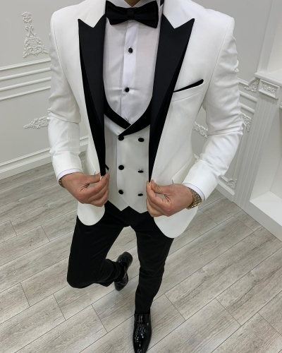 White Slim Fit Velvet Peak Lapel Tuxedo by GentWith.com with Free Worldwide Shipping