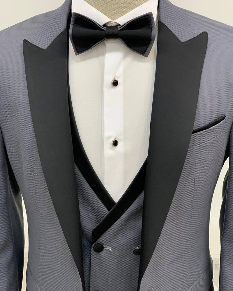 Gray Slim Fit Peak Lapel Tuxedo by GentWith.com with Free Worldwide Shipping