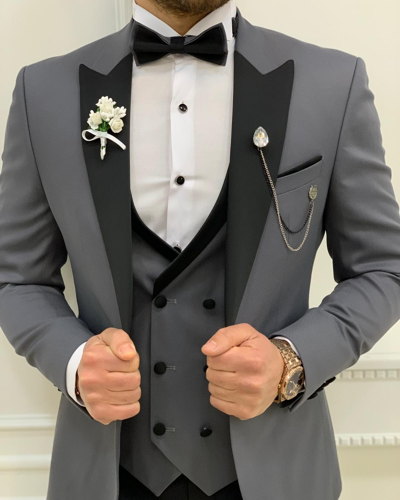 Gray Slim Fit Peak Lapel Tuxedos by GentWith.com with Free Worldwide Shipping