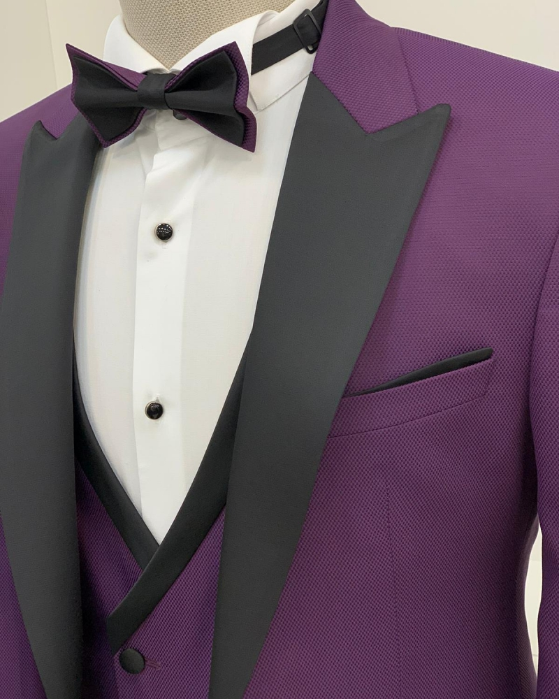Purple Slim Fit Peak Lapel Tuxedo by GentWith.com with Free Worldwide Shipping